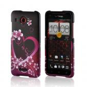 Hot Pink/ Purple Flowers &amp; Heart Rubberized Hard Case for HTC Droid DNA
