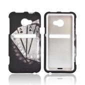 HTC EVO 4G LTE Rubberized Hard Case - Black/ White Aces w/ Laurel Leaf Imprint