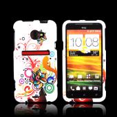 HTC EVO 4G LTE Rubberized Hard Case - Autumn Floral Burst on White