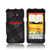 HTC EVO 4G LTE Rubberized Hard Case - Gray/ Black Plaid