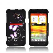 HTC EVO 4G LTE Rubberized Hard Case - Purple Butterflies on Black