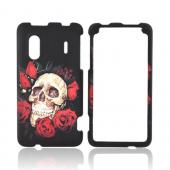 HTC EVO Design 4G Rubberized Hard Case - Skull &amp; Roses on Black