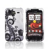 HTC Droid Incredible 2 Rubberized Hard Case - Black Flowers & Vines on Gray