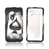 HTC Droid Incredible 4G LTE Rubberized Hard Case - Ace Skull on Black