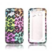 HTC Droid Incredible 4G Rubberized Hard Case - Multi-Colored Artsy Leopard