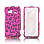 HTC Droid Incredible 4G LTE Rubberized Hard Case - Hot Pink/ Black Leopard