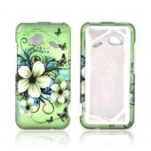 HTC Droid Incredible 4G LTE Rubberized Hard Case - White Hawaiian Flowers on Green