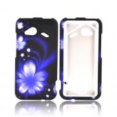 HTC Droid Incredible 4G LTE Rubberized Hard Case - Purple Flower On Black