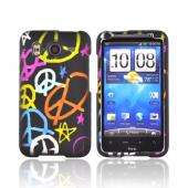 HTC Inspire 4G Rubberized Hard Case - Rainbow Peace Signs on Black