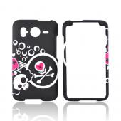 HTC Inpsire 4G Rubberized Hard Case - White Skull And Pink Heart On Black