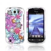 HTC Mytouch 4G Slide Rubberized Hard Case - Purple/ Turquoise Flower Burst