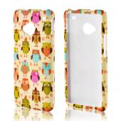 Retro Owls on Cream Rubberized Hard Case for HTC One