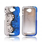 HTC One S Rubberized Hard Case - Black Vines on Blue/ Silver