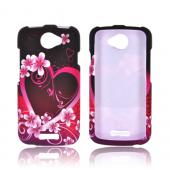 HTC One S Rubberized Hard Case - Hot Pink/ Purple Flowers &amp; Hearts