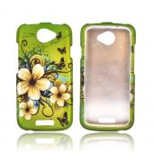 HTC One S Rubberized Hard Case - White Hawaiian Flowers on Green