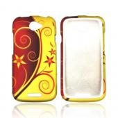 HTC One S Rubberized Hard Case - Red/ Gold Elegant Swirl & Flowers