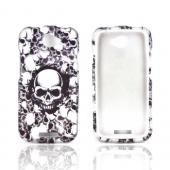 HTC One S Rubberized Hard Case - Silver Skulls on Black