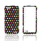 HTC One V Rubberized Hard Case - Rainbow Polka Dots on Black