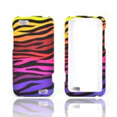 HTC One V Rubberized Hard Case - Rainbow Zebra on Black