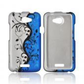 HTC One X Rubberized Hard Case - Black Vines on Blue/ Silver