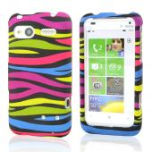 HTC Radar 4G Rubberized Hard Case - Rainbow Zebra on Black