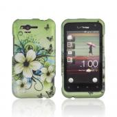 HTC Rhyme Rubberized Hard Case - Hawaiian Flowers on Green