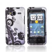 HTC EVO Shift 4G Rubberized Hard Case - Black Vines &amp; Flowers on Gray
