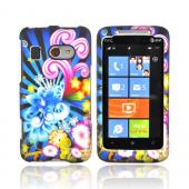 HTC Surround T8788 Rubberized Hard Case - Blue Floral Burst