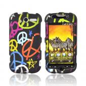 T-Mobile MyTouch 4G Rubberized Hard Case - Colorful Peace Signs on Black