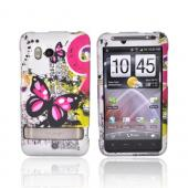 HTC Thunderbolt Rubberized Hard Case - Pink Butterfly on Gray