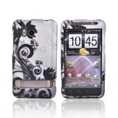 HTC Thunderbolt Rubberized Hard Case - Black Vines on Gray