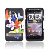 HTC Thunderbolt Rubberized Hard Case - Colorful Butterflies on Black