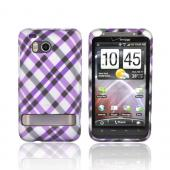 HTC Thunderbolt Rubberized Hard Case - Checkered Pattern of Purple, Silver, Black