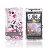 HTC Thunderbolt Rubberized Hard Case - Pink Flowers On Silver