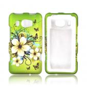 HTC Titan 2 Rubberized Hard Case - White Hawaiian Flowers on Green