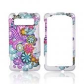 HTC Trophy Rubberized Hard Case - Purple/ Turquoise Flower Burst