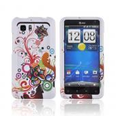 HTC Vivid Rubberized Hard Case - Autumn Floral Burst on White