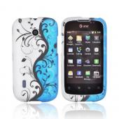 AT&T Fusion U8652 Rubberized Hard Case - Black Vines on Blue/ Silver