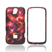 T-Mobile Huawei myTouch Q 2 Rubberized Hard Case - Pink/ Gold Hearts on Espresso Brown