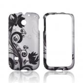 Huawei Ascend 2/ Prism/ Summit M865 Rubberized Hard Case - Black Vines & Flowers on Silver