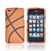 AT&amp;T/ Verizon Apple iPhone 4, iPhone 4S Rubberized Hard Case - Orange/ Black Basketball