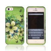 Apple iPhone 5 Rubberized Hard Case - White Hawaiian Flowers on Green