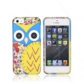 Apple iPhone 5/5S Rubberized Hard Case - Blue/ Gold Owl Design - XXIP5