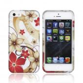 Apple iPhone 5 Rubberized Hard Case - Red/ White Flowers on Silver