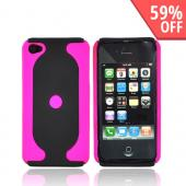 Apple Verizon/ AT&amp;T iPhone 4, iPhone 4S Rubberized 2 Tone Hard Case - Hot Pink/Black