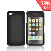 Apple Verizon/ AT&amp;T iPhone 4, iPhone 4S Rubberized Hard Case w/ Front Top Cover - Black