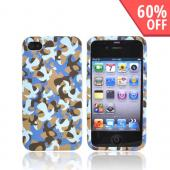Luxmo Apple Verizon/ AT&amp;T iPhone 4, iPhone 4S Rubberized Hard Case - Blue Camouflage
