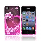 Apple Verizon/ AT&amp;T iPhone 4, iPhone 4S Rubberized Hard Case - Hot Pink/Purple Flowers and Heart
