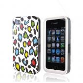 Apple Verizon/ AT&amp;T iPhone 4, iPhone 4S Rubberized Hard Case - Colorful Leopard on White
