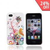 Luxmo Apple Verizon/ AT&amp;T iPhone 4, iPhone 4S Rubberized Hard Case Back Cover - Rainbow Wild Flowers on White